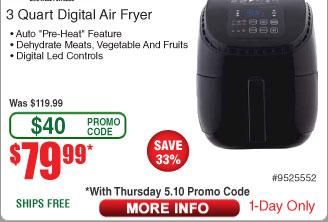NuWave Brio™ 3 Quart Digital Air Fryer with Pre-Heat Function $79.99