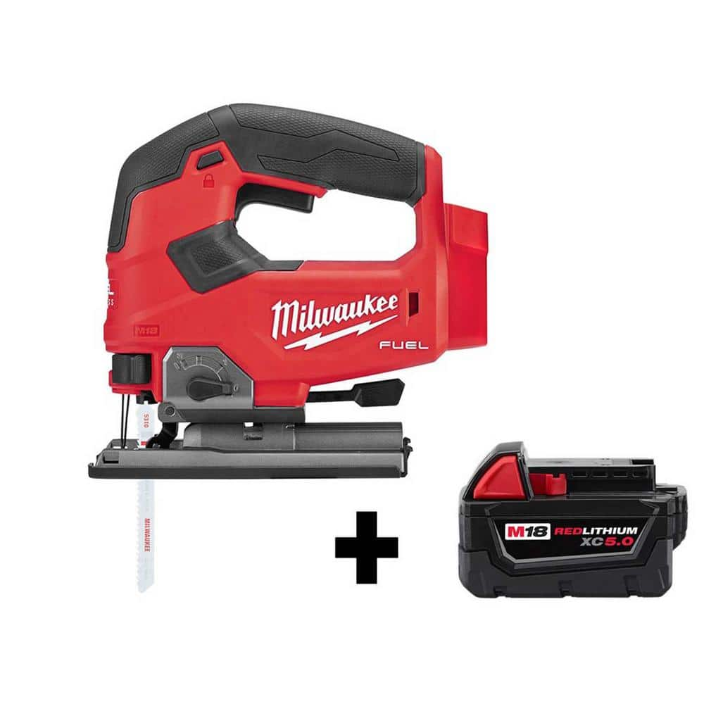 Milwaukee M18 Fuel Brushless Cordless Jigsaw + Free M18 5.0 Ah Battery - Regularly 328 USD