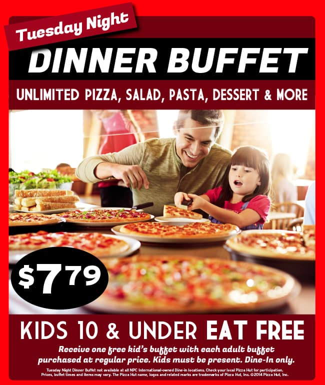 Pizza Hut Games >> Pizza Hut Dinner Buffet Tuesday Nights at $7.79 (Kids eat free) - Slickdeals.net