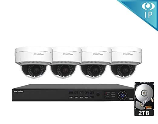 LaView 1080P IP 4 Camera Security System, 8 Channel IP PoE HDMI NVR (Resolution 1080p - 6MP) w/2TB HDD and 4 IP High Resolution Dome 2MP White Surveillance Camera Kit $335.98