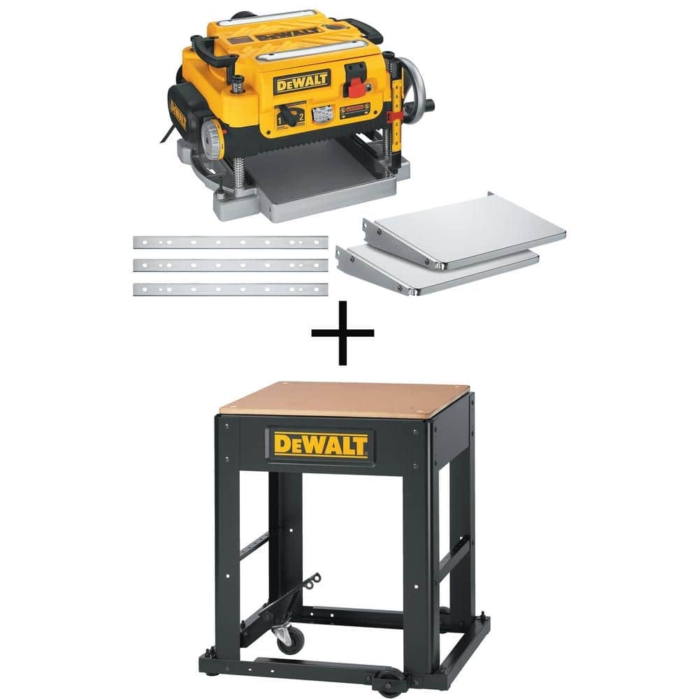 DEWALT 15 Amp 13 in. Heavy-Duty 2-Speed Thickness Planer with Knives and Tables and Planer Stand-DW735XW7350 - $599.99 at Home Depot