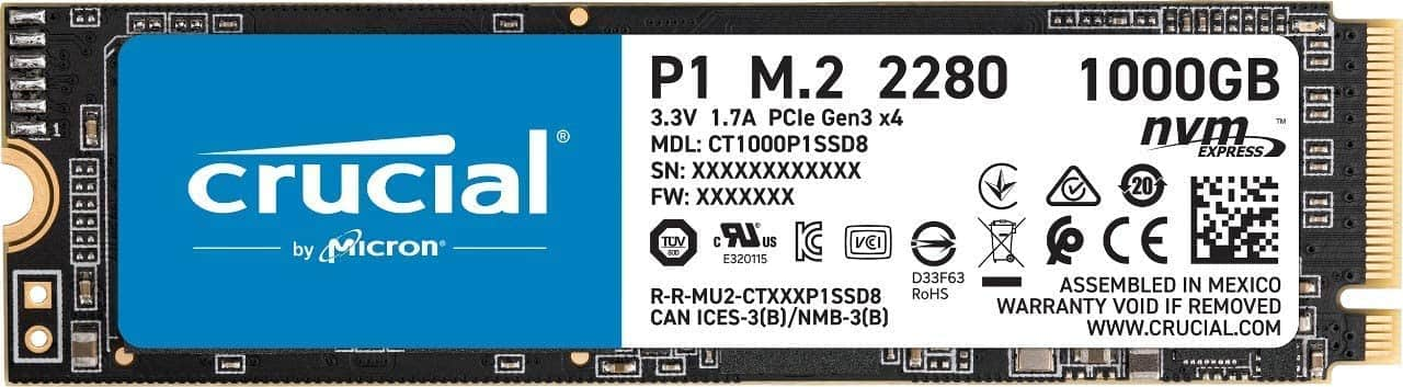 Crucial P1 1TB 3D NAND M.2 NVMe PCIe Internal SSD, up to 2000MB/s $105