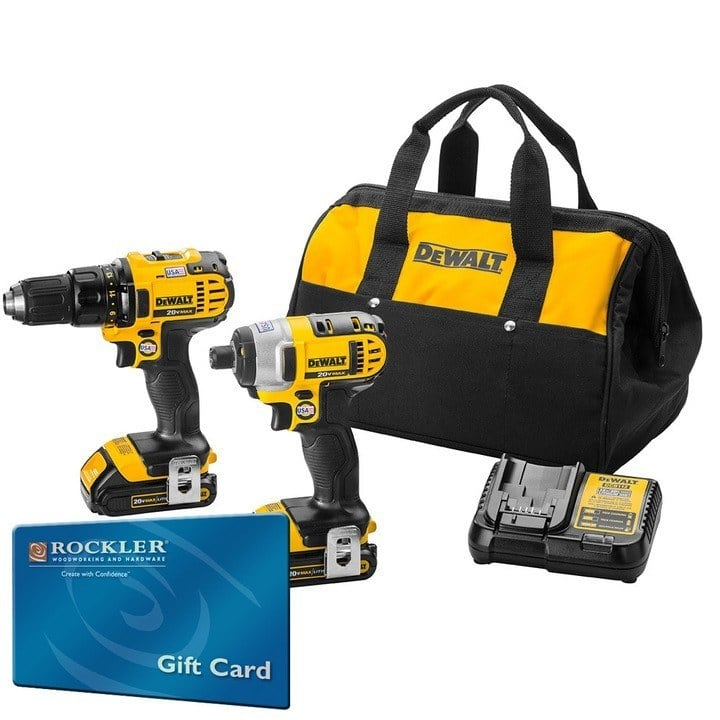 DeWalt 20V MAX Li-Ion Compact Drill/Impact Driver Combo Kit with FREE $150 Gift Card $249.00 Rockler