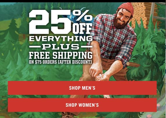 Duluth Trading Co 25% off any order, no minimum!