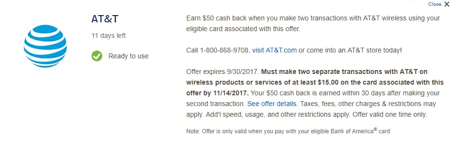[YMMV] $50 cashback at AT&T after 2 x $15 transactions with BofA card