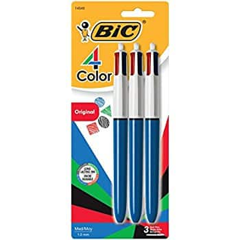 BIC 4-Color Ball Pen, Medium Point (1.0mm), Assorted Ink, 3-Count via Amazon for $3.49