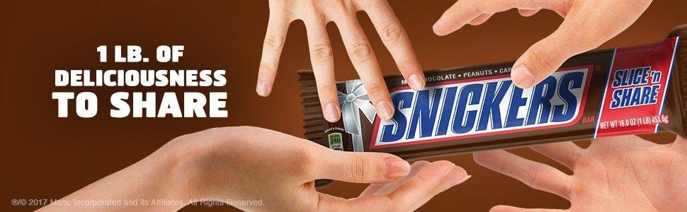 SNICKERS Slice n' Share Giant Chocolate Candy 1-Pound Bar via Amazon for $6.75