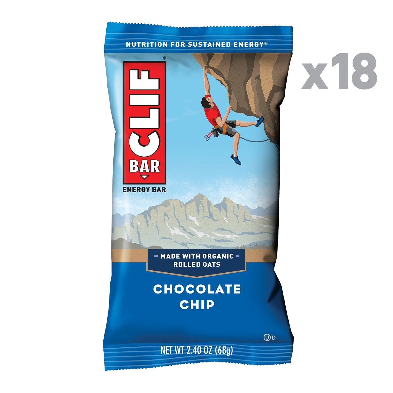 CLIF BAR - Energy Bars - Chocolate Chip - (2.4 Ounce Protein Bars, 18 Count) via Amazon $4.50