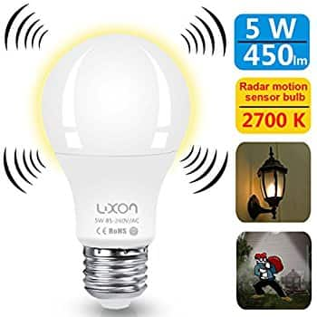 Motion Sensor LED E26 Bulb, 2700k, $7.70 AC/Prime Shipping