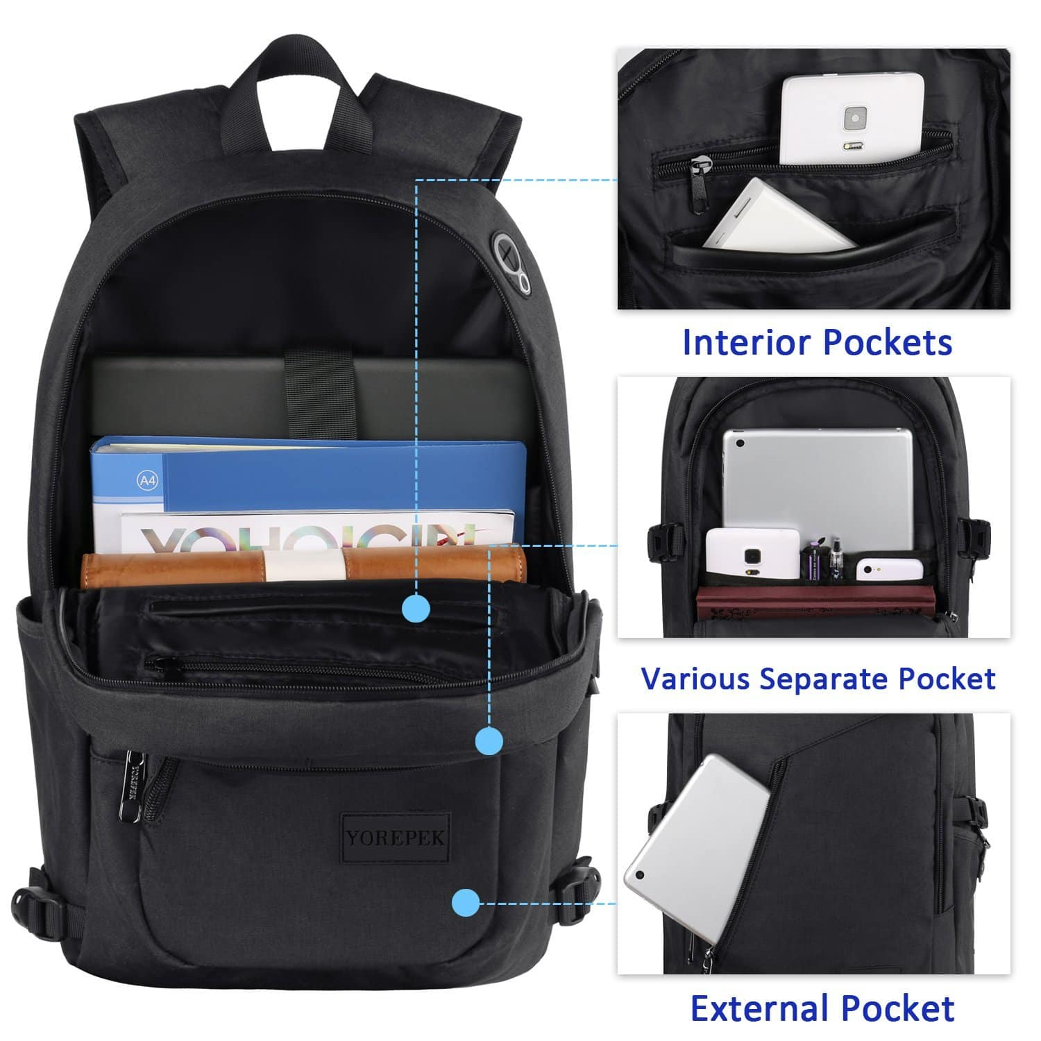 Yorepek: Laptop Backpack w/ USB charging, Headphones Port for 15.6 Inch Laptop, $16.99 + AC/Shipping