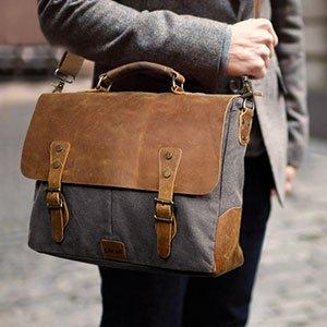 5e1c6c1145 14-15.6 inch Laptop Messenger Bag Vintage Genuine Leather Canvas Briefcase  Computer Satchel  39.99AC
