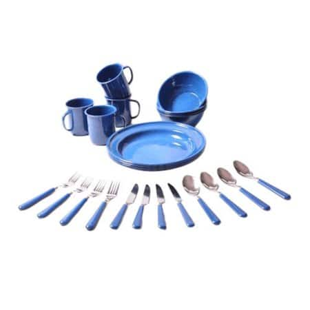 Ozark Trail 24-Piece Blue Enamel Dinnerware Set for $10