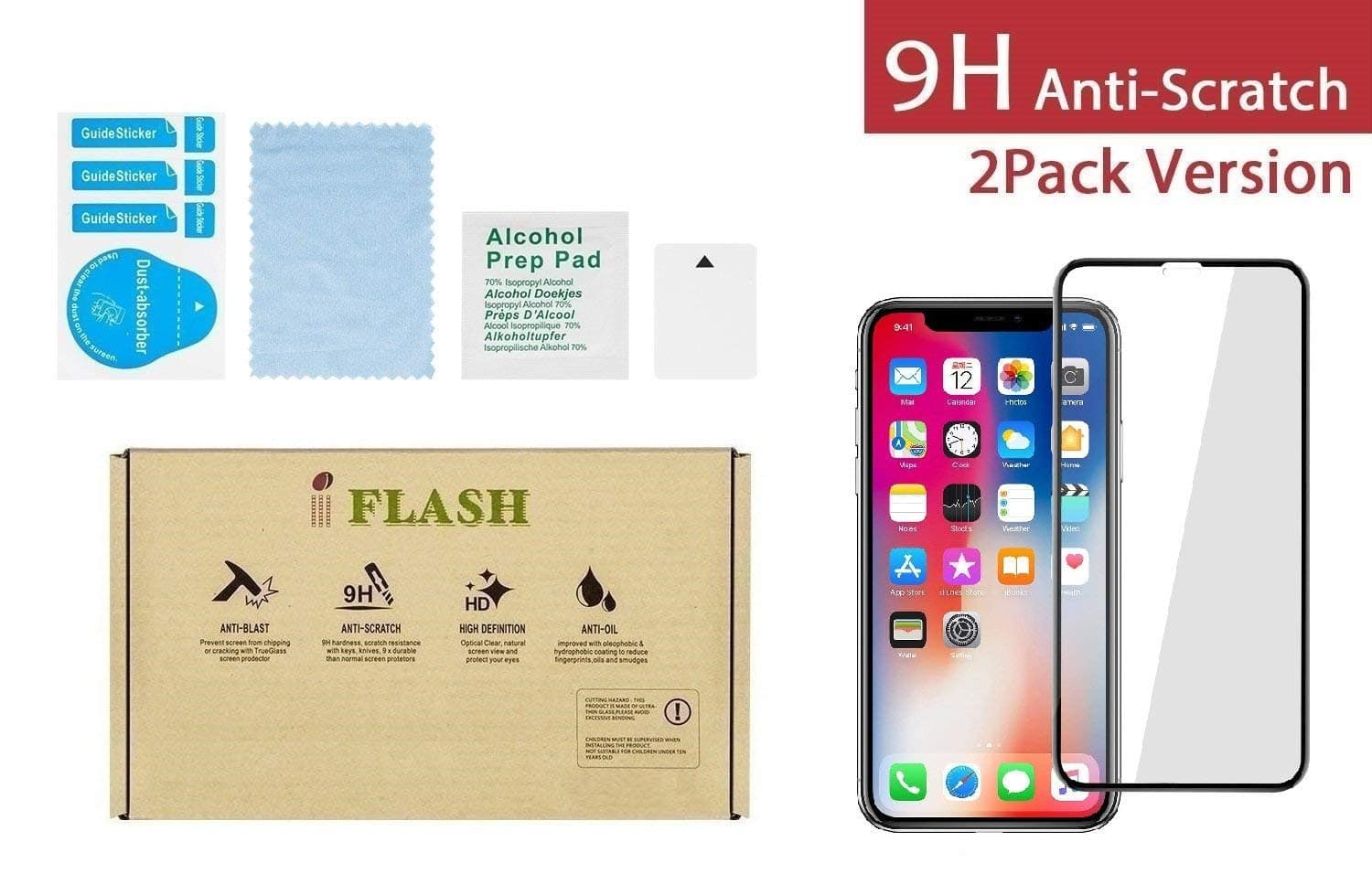 iPhone X, iPhone Xs Full Coverage Screen Protector, iFlash [2 Pack] Full Cover Tempered Glass Screen Protector $3.33 @amazon