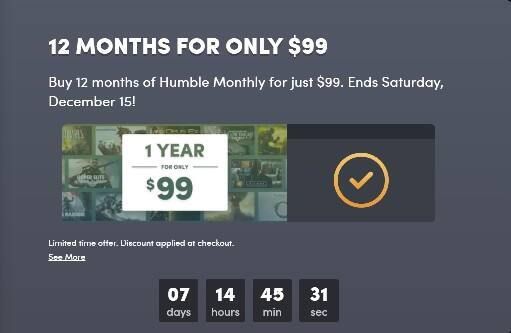 Humble Bundle - 12 months for $99
