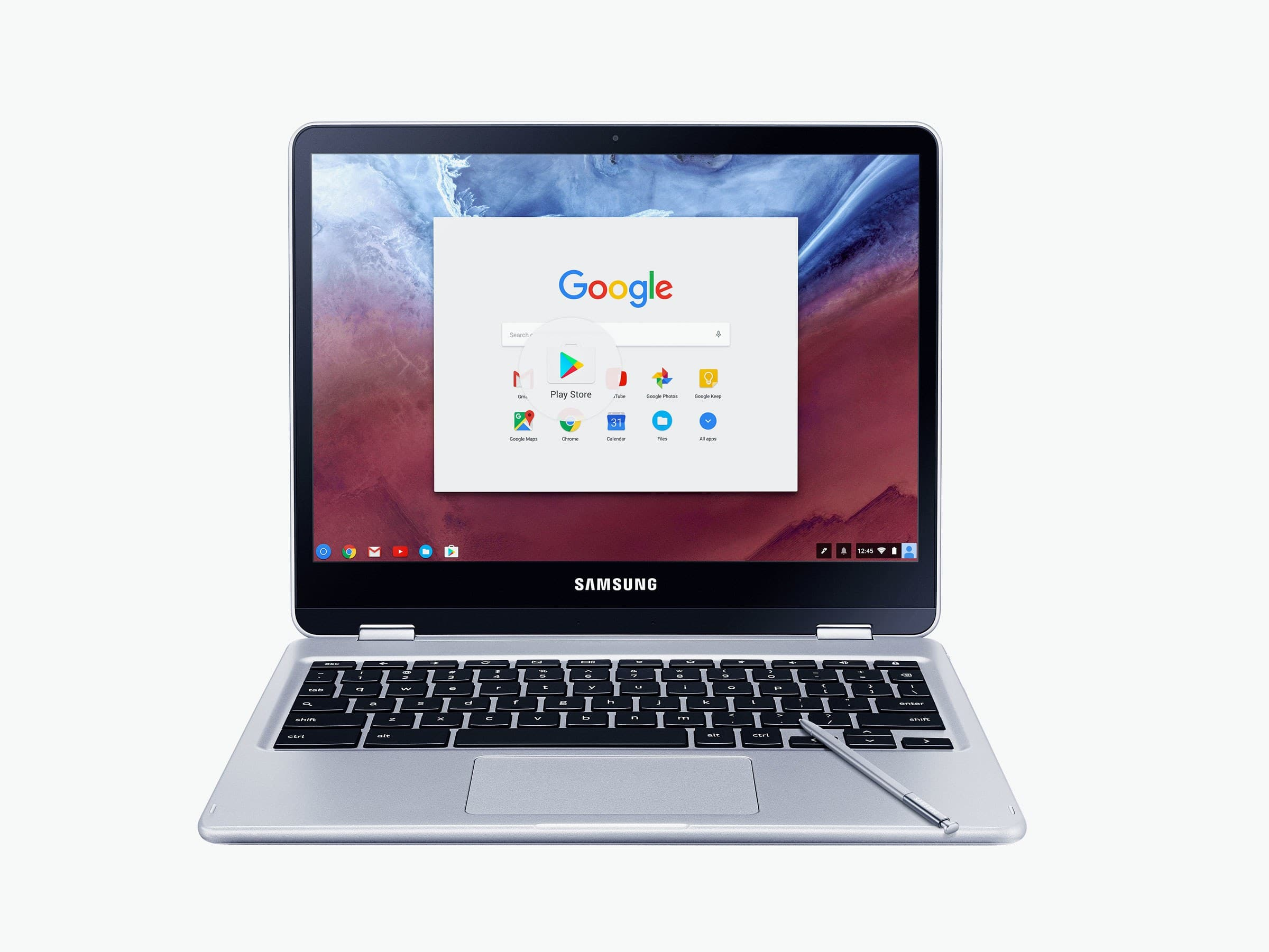 Samsung - 12.3 in Chromebook Plus - Touch Screen- 4GB memory- 32GB eMMC Flash Memory - Platinum Silver - Best Buy $379