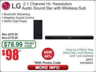 Frys Email Coupon Code: LG SK5Y 2.1 Hi-Res Soundbar $98