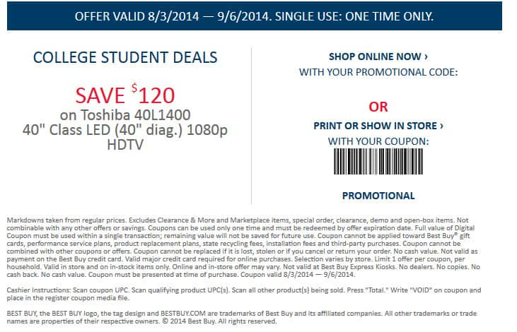 """Best Buy Deal  Toshiba 40"""" LED TV 60 Hz Model  40L1400U ** STUDENT EMAIL (.edu email) required** - 179.99$ + Tax"""