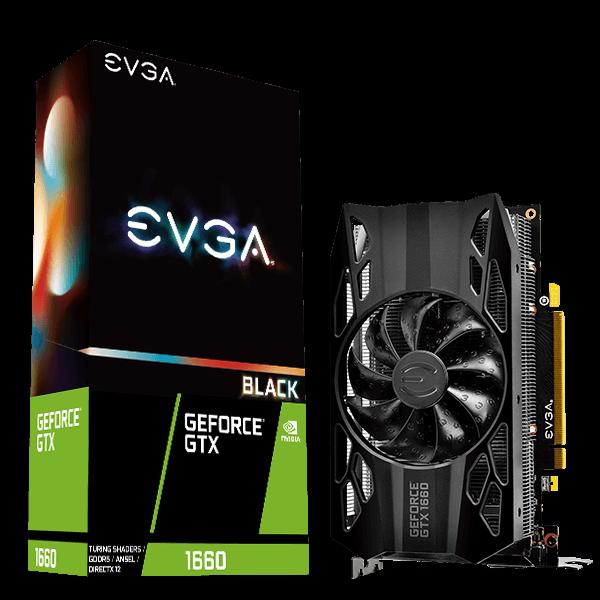 EVGA GeForce GTX 1660 BLACK GAMING, 6GB GDDR5, Single Fan AR + AC $179.5