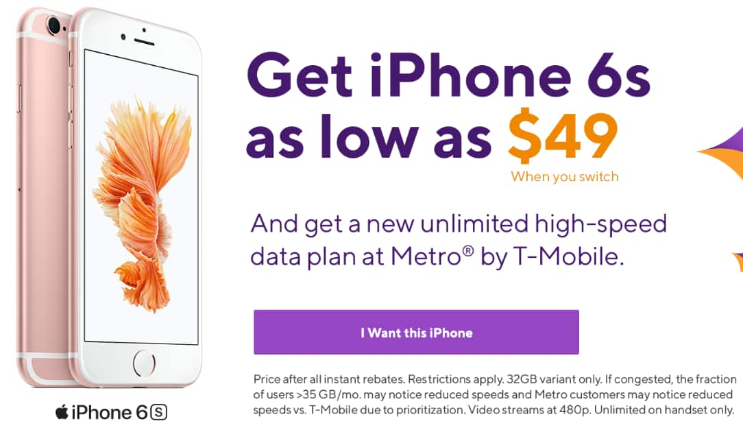 Metropcs Iphone 6S $49 , when you port your number - Slickdeals net