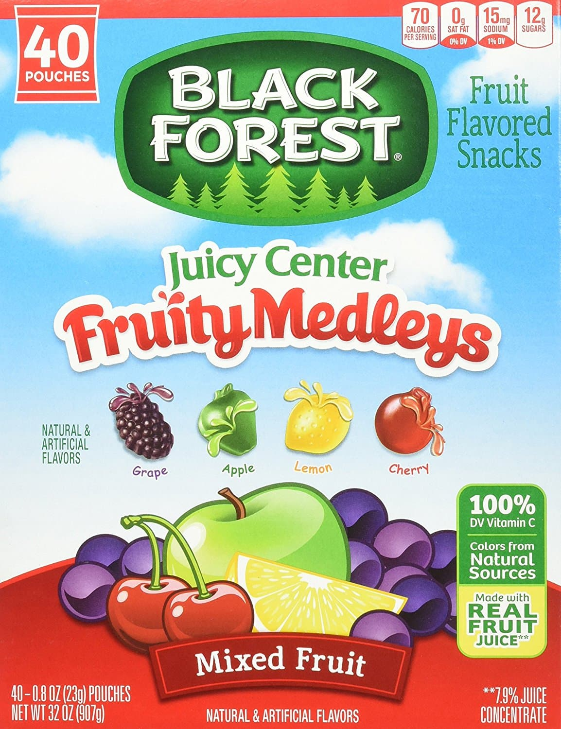 Black Forest Medley Juicy Center Fruit Snacks, 40 count - $5.79 after SS and 20% coupon