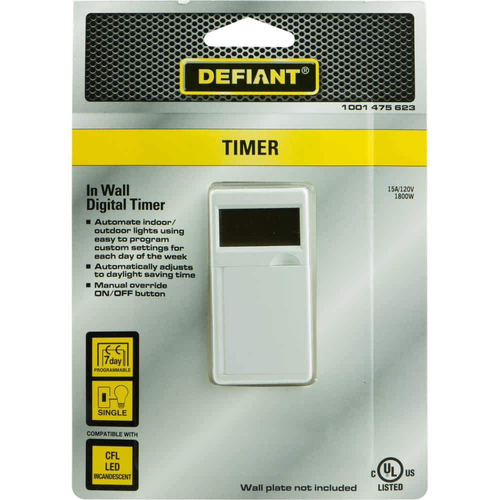 Defiant 15 Amp 7-Day In-Wall Digital CFL-LED Compatible Timer $9.99