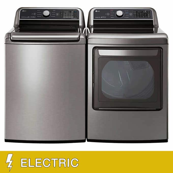LG 5.0CuFt Washer and 7.3CuFt ELECTRIC WiFi Enabled Top Load Laundry Package $1249.99