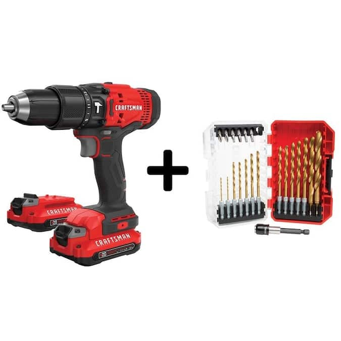 Lowe's - CRAFTSMAN V20 1/2-in 20-Volt Max Variable Speed Cordless Hammer Drill (2-Batteries Included) w/ Bit assortment $99