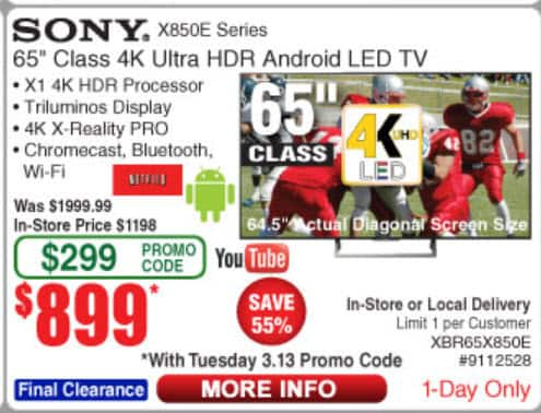 "Sony 65"" XBR65X850E 4K HDR LED TV $899 Fry's 3/13/2018 One Day Sale with Promo Code"