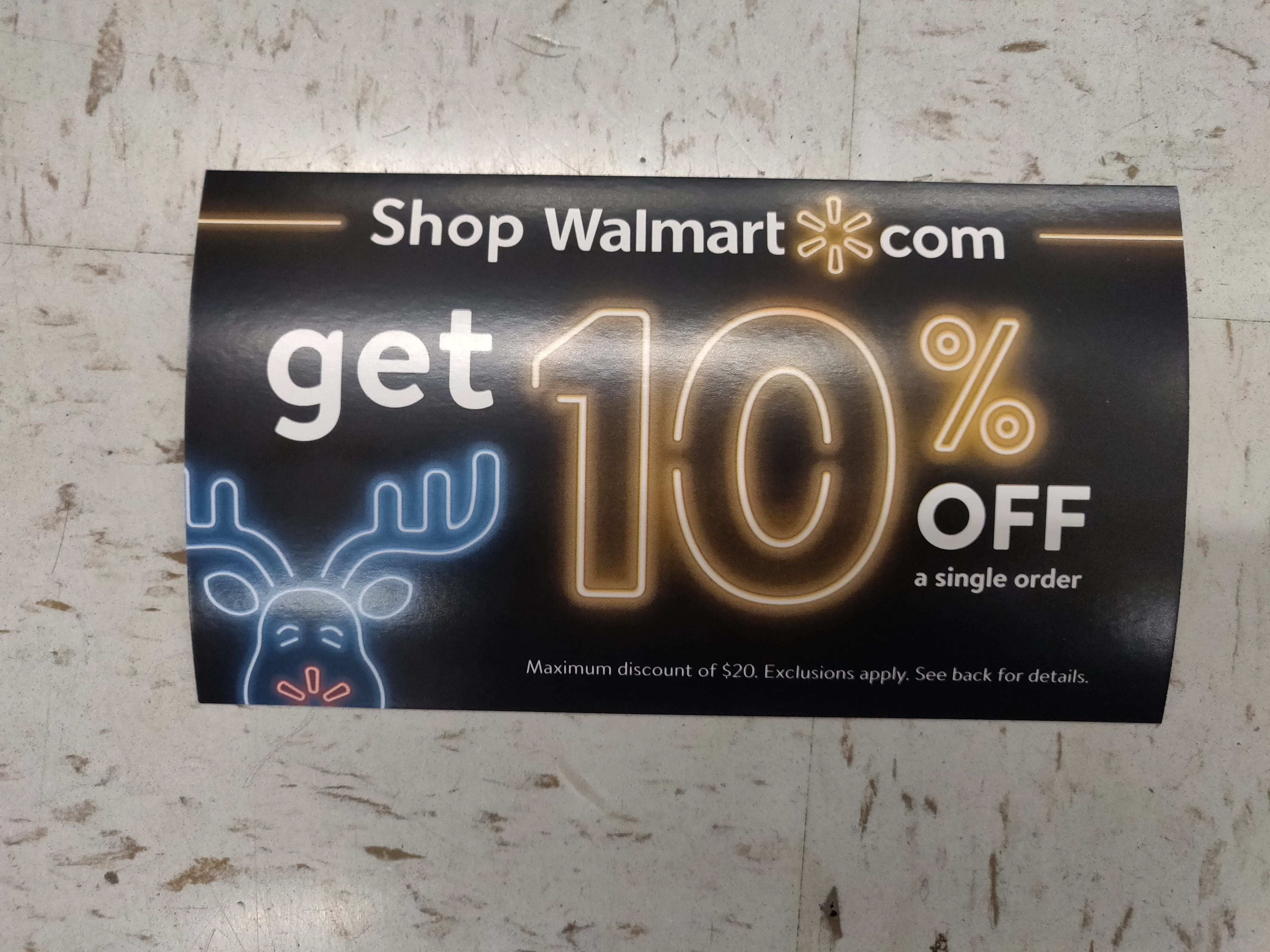 Get 10% off Walmart com coupon code (up to $20 discount