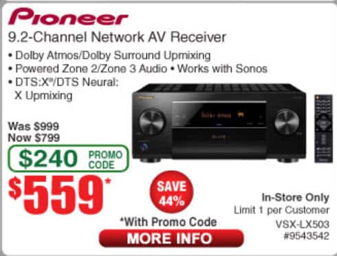 Pioneer Vsx Lx503 9 2 Channel Dolby Atmos Receiver 559 At Frys Com