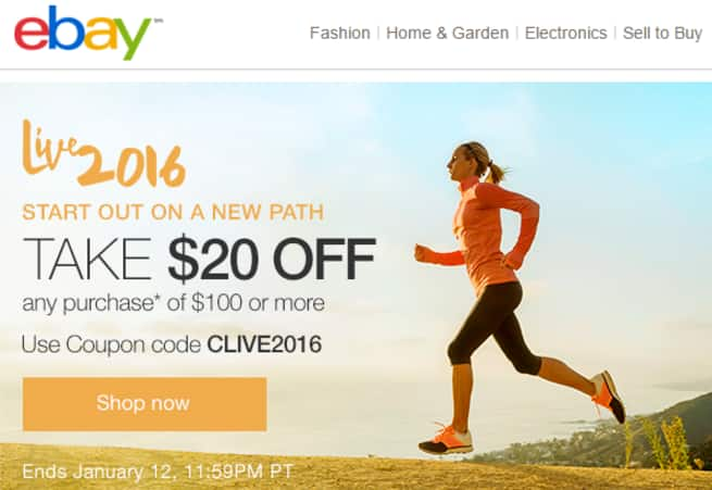 eBay $20 off $100 YMMV *Check your email*
