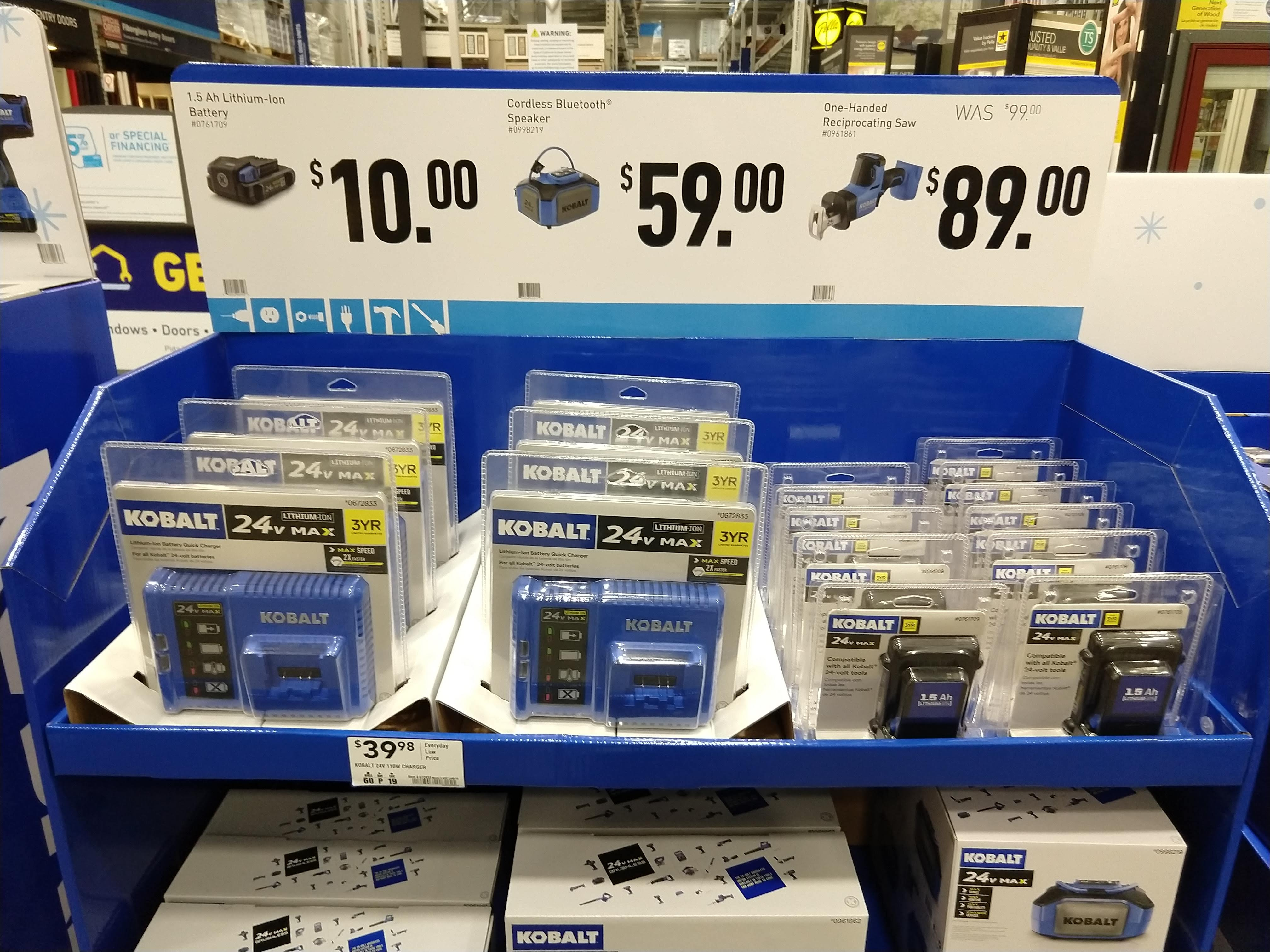 Kobalt 24-volt Max 1.5-Amp-Hours Lithium Power Tool Battery @Lowes for $10