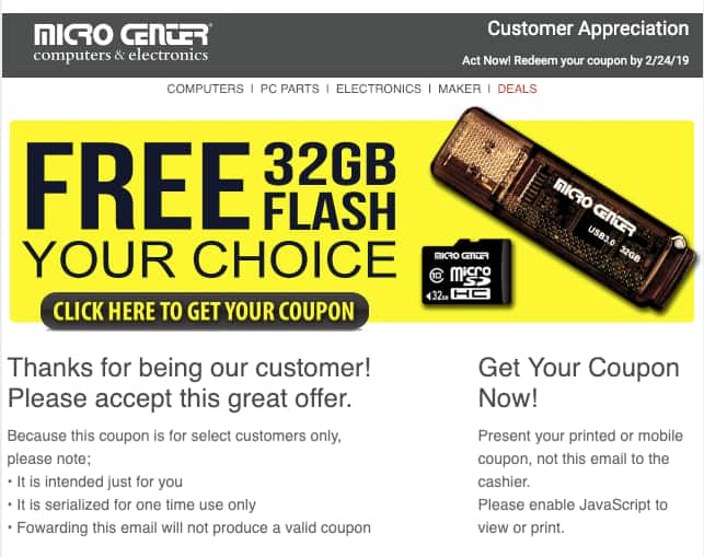 FREE, In-Store Only, YMMV - Micro Center 32GB SuperSpeed USB 3.1 Flash Drive or microSDHC Class 10 Flash Memory Card