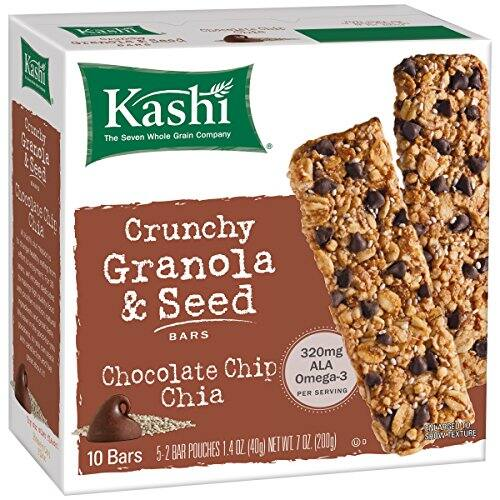 Kashi Crunchy Chia Bar, Chocolate Chip, 5-2 Bar pouches Net WT. 7 oz, $0.25 w/ Amazon Fresh