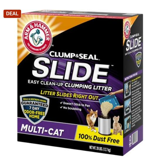 Chewy Flash Sale - 50% off Arm & Hammer Litter Multi Cat Slide Clumping Cat Litter (28 Pounds) $8.47