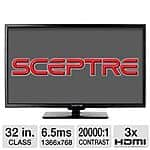 "$299 Sceptre E325BV-HDR 32"" 720p 60Hz LED HDTV - 3 HDMI inputs, VGA input, USB input, Energy Star, Headphone Output- E325BV-HDR (31.5"" Diagonal) - $149.97"
