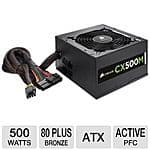 Corsair CX 500W Modular PSU, 80+ Bronze Cert. $30 AR/AC @ TigerDirect w/free shipping