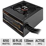 Thermaltake SMART 650W SP-650P PSU 80+ Bronze $30 AR w/Free shipping; Belkin 12 outlet surge prot. $10 AR + S/H & more AR @ TigerDirect.com