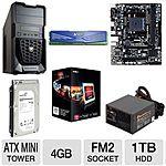 AMD Barebones Kit: A6-5400K 3.6GHz Dual-Core APU, Gigabyte GA-F2A68HM-H MB, 4GB RAM, 1TB Seagate HD, Cougar Case w/650W PSU $194.99 AC/AR +S/H @ TigerDirect.com