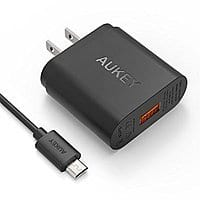 Amazon Deal: [Qualcomm Certified] Aukey Quick Charge 2.0 18W USB Turbo Wall Charger Fast Charger w/ 3.3ft Micro USB Cable $9.99 AC @ Aukey Direct via amazon (prime elig)