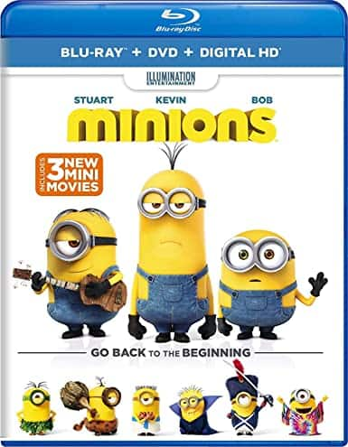 Minions (BD + DVD + Digital) or Rock Dog (2016; BD + DVD + Digital) $5 and more at amazon.com (prime eligible)