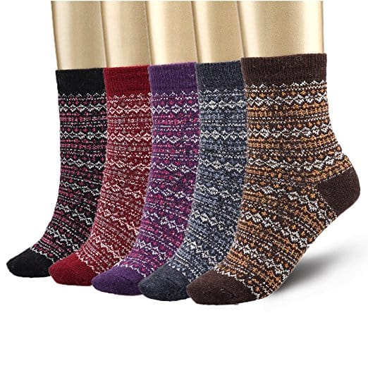 Bemaystar Nordic Wool Woman Socks Winter Socks 5-pack for $5.98 (54% off) AC @ Amazon