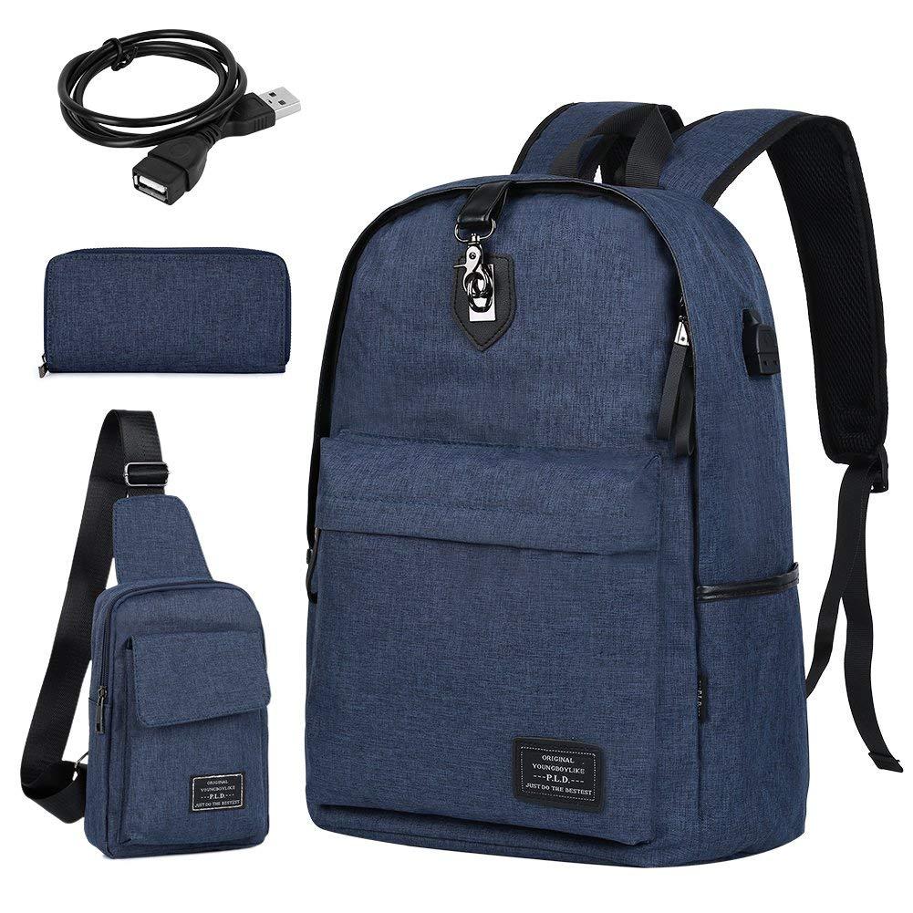 a183b2241d 3 Peice Vbiger Laptop Backpack w  USB Charging Port