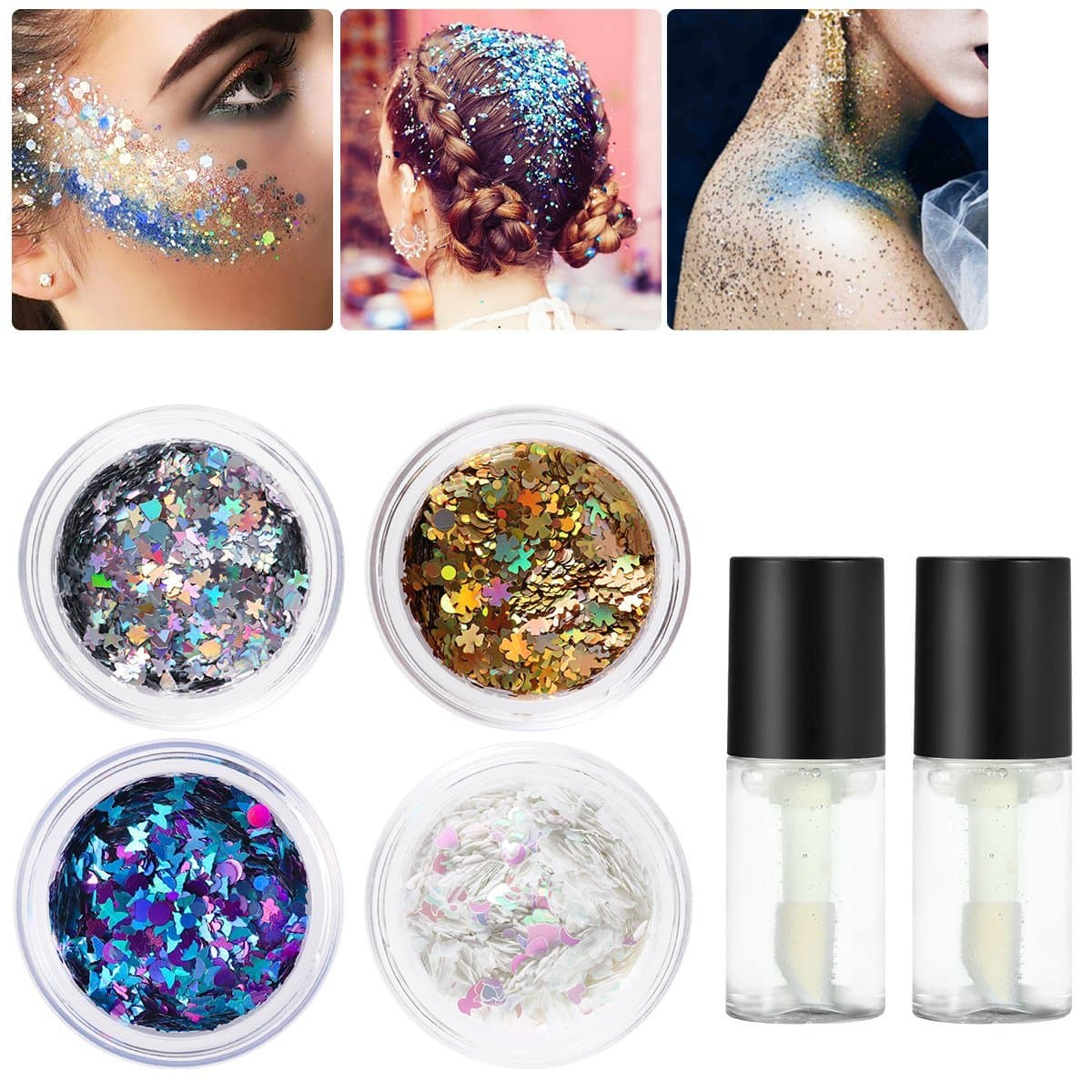 PIXNOR Body Glitter 4 Colors Holographic Chunky Glitter with 2pcs Long Lasting Fix Gel for Face, Body, Hair and Nail $9.59