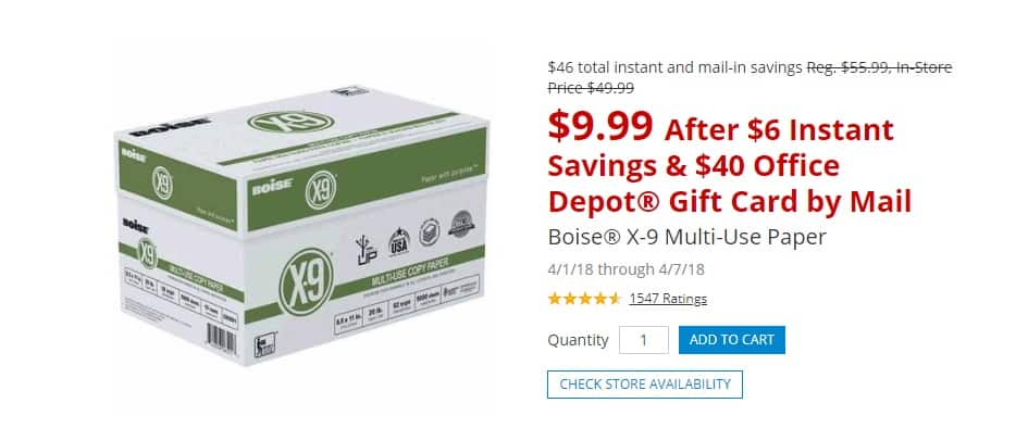 1 cs (10 reams) Boise X-9 paper AR at OD/OM $9.99