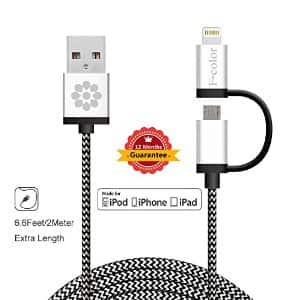 iPhone/iPad Braided 2-in-1 Lightning Cable - 6 feet long!  $12.99 after $2off with coupon from Amazon w/ Prime