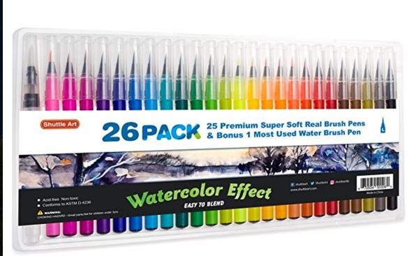 Shuttle Art 26pk Watercolor Brush Pens $15
