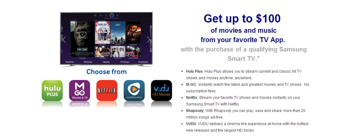 One year free Hulu Plus or Netflix or $100 Vudu Credit for new Samsung TV owners - YMMV *no buying/selling/paypals*