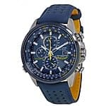 $269 CITIZEN Eco Drive Blue Angels World Chronograph Blue Leather Men's Watch AT8020-03L (looks stunning, really!,check picture on web site)