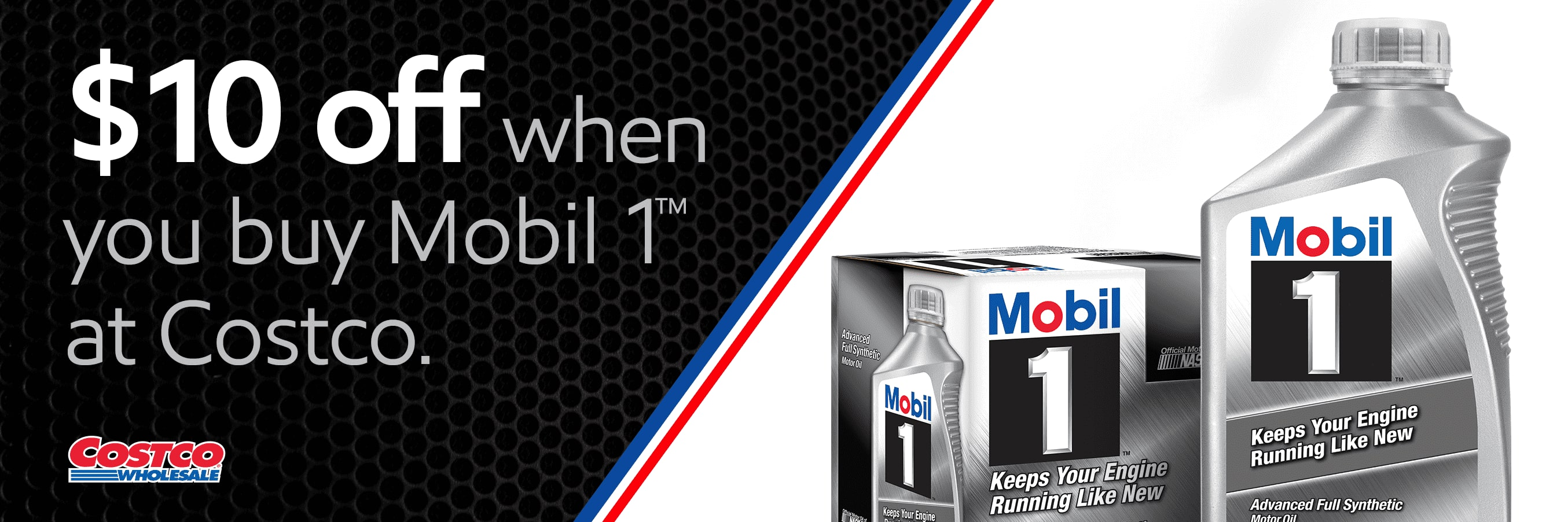 Save $10 on a case of Mobil 1™ synthetic motor oil at Costco ($26.99)